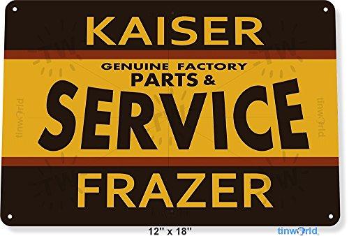 "TIN SIGN 12"" x 18"" Kaiser Frazer Parts Service Auto Shop Garage Metal Decor Tinworld B234"