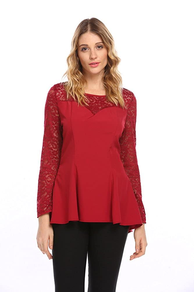 Meaneor Womens Comfy Loose Fit Trapeze lace Join Peplum Blouse ##MAH017114
