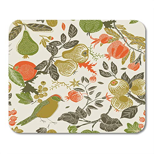 Emvency Mouse Pads Pattern Fruit Garden Bird Fall Pear Pomegranate Floral Berry Mousepad 9.5
