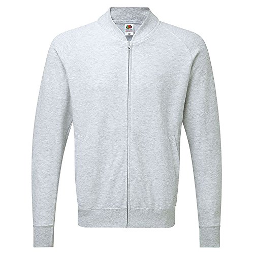 Fruit of the Loom Mens Lightweight Baseball Sweat Jacket (L) (Heather Grey)