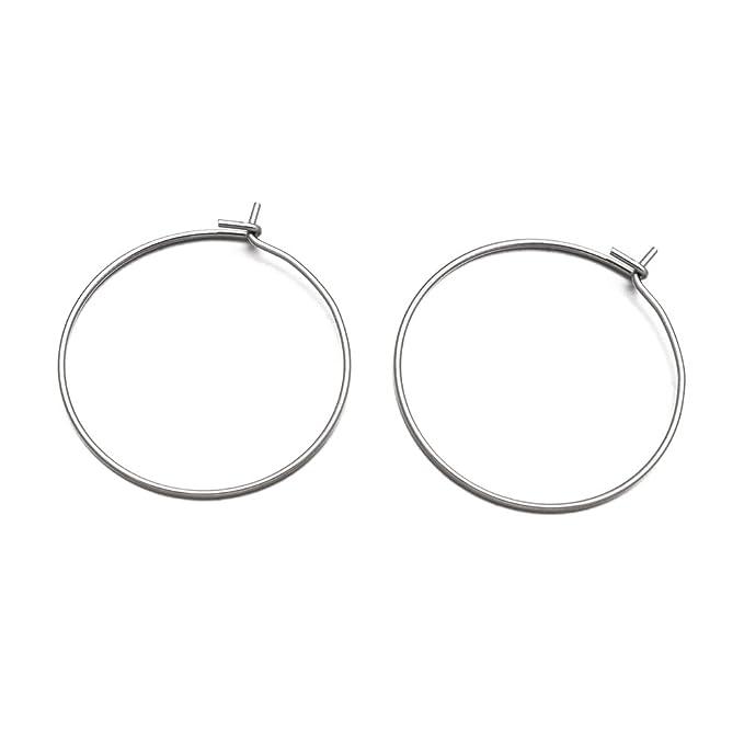 Pandahall 200pcs Stainless Steel Silver Hoop Earrings Components Open Earwire for Dangle Earring 41x22x1mm