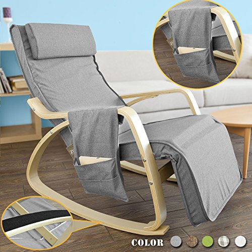 Haotian FST18-DG, Comfortable Relax Rocking Chair, Lounge Chair Recliners with Adjustable Footrest & Side Pocket For Sale
