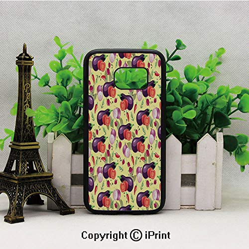 Eggplant Tomato Relish Onion Going Green Eating Organic Tasty Preserve Nature Decorative 2D Printing of Samsung S7 Case Black Soft TPU and PC Protection Anti-Slippery Case for Samsung S7 Multicolor
