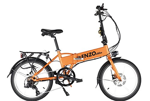 Enzo Ebike Folding Electric Bicycle - 7 Speed - Lithium Ion - Variable Assist (Orange)