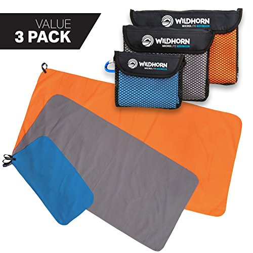 Tek Towel - WildHorn Outfitters Microlite Travel Towel Bundle for Camping, Hiking & Backpacking. Microfiber Quick Dry Towel Set - Large, Medium & Small Sizes Included.