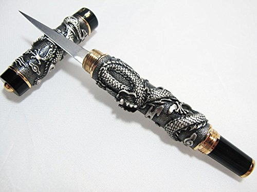 (DRAGON THAI FRUIT AND SOAP CARVING KNIFE KNIVES BRASS HANDMADE SILVER COLOR)