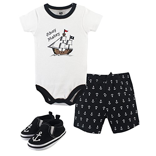 Hudson Baby Unisex Baby Bodysuit, Bottoms and Shoes, Pirate 3-Piece Set, 9-12 Months (12M) -