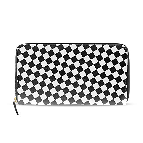 Women Printed Zip Around Wallet Heart Black White Soft PU Phone Clutch Travel Card Holder Purse