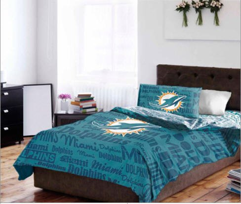 Miami Dolphins NFL Twin Comforter & Sheet Set (4 Piece Bedding)