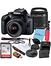 $469 » Canon EOS 4000D / Rebel T100 DSLR Camera 18-55mm f/3.5-5.6 Zoom Lens, SanDisk 32GB Memory Card, Tripod, 3 Pieces Filter (UV, CPL, FLD), ZeeTech Accessory Bundle