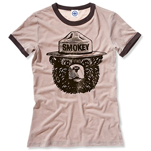 Hank Player U.S.A. Official Smokey Bear Women's Ringer T-Shirt (L, Heather Khaki)