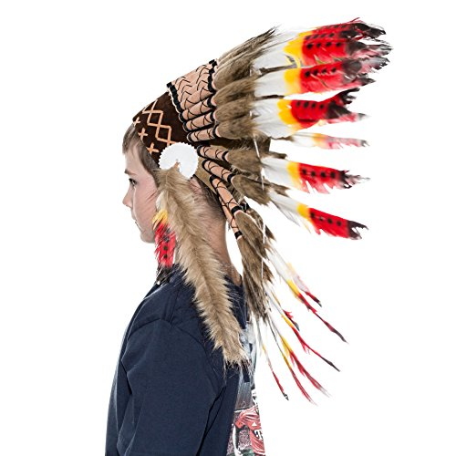 Novum Crafts Kids Feather Headdress | Native American Indian Inspired | Multicolored