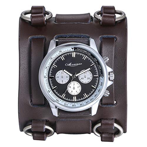 Fashion Leather Cuff Watch - Avaner Mens Retro Steampunk Hip-hop Gothic Brown 74mm Wide Leather Cuff Bracelet Sport Watch Women Big Dial Analog Quartz Wrist Watch
