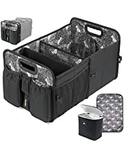 Car Boot Organiser, Cooler and Lid - Heavy Duty Collapsible Car Trunk Storage Organizer| Baby Nappy Caddy and Change Pad | Seat Belt Loop, Bottle, Wipes, Rubbish Bag | Ute Cargo Tray | Boot Tidy Box