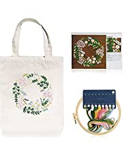 Canvas Embroidery Tote Bag For Women Men Girls With Pattern and Instruction Handmade DIY Bags Customized Shoulder Bags Gift Bags Lunch Bags Welcome Bags