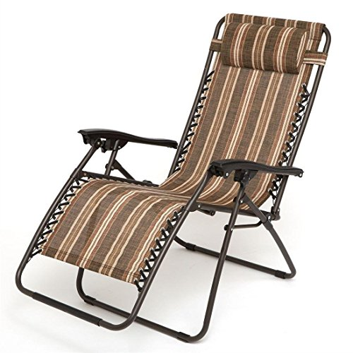 HOME BI Adjustable Zero gravity chair with Pillow, Folding Lounge Recliner Chair for Outdoor/Indoor Yard Beach, Adjustable Patio Chairs, Brown (Recliner Chair Textilene)