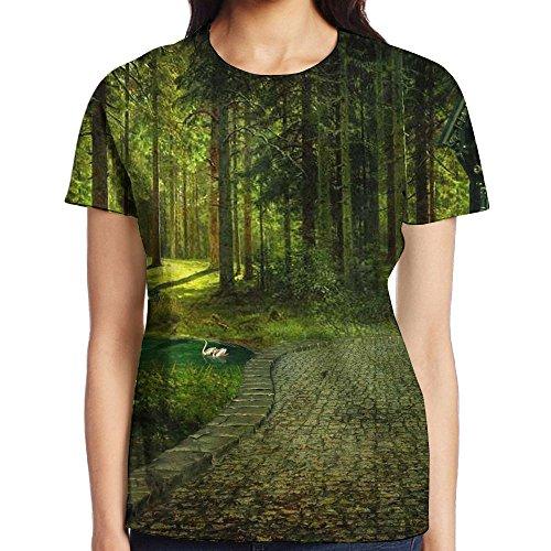 Womens Fantasy Magical Forest Casual T-Shirt Short Sleeve Jogging - Shopping Casuarina