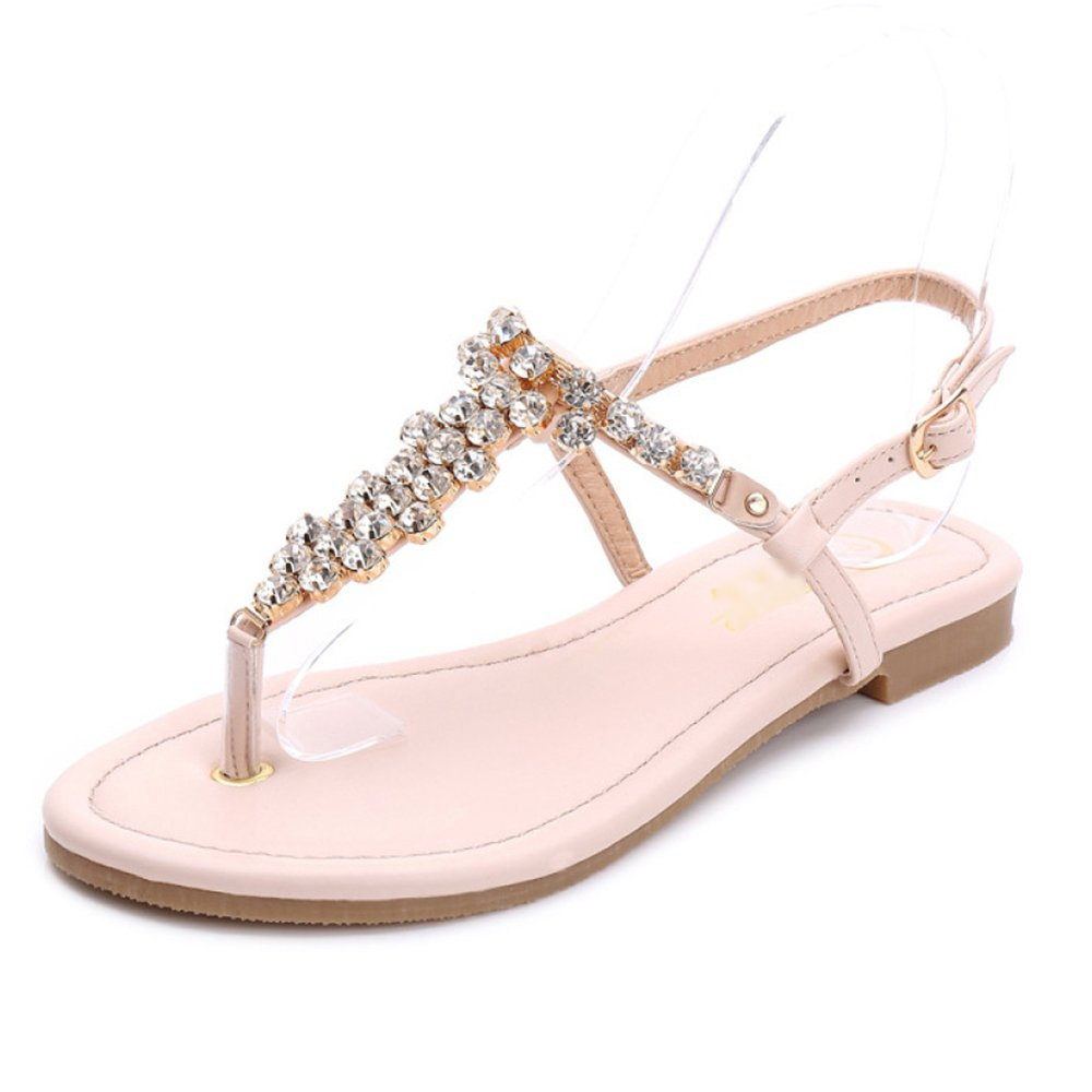 Frauen Strass Sandalen Sommer Block Clip Toe T-Strap Knöchelriemen Schnalle Rom Bohemian Style Beach Flachen Flip Flop Schuhe  EU41/UK7|Apricot