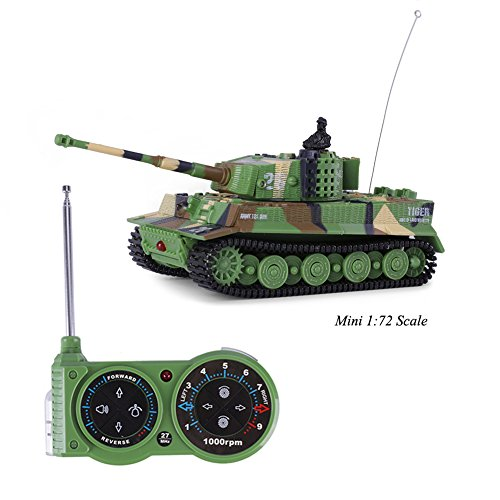 Giveme5 Tank Model Kit, German Tiger I Panzer Tank Diecast with Remote Control, Battery, Light, Sound, Rotating Turret and Recoil Action When Cannon Artillery Shoots, Mini 1:72 Scale, Dark Green