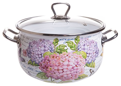 Round Qt Enamel 4 (Red Co. Enamel On Steel Round Covered Stockpot, Pasta Stock Stew Soup Casserole Dish with Clear Lid, Up to 4 Quarts - 20 cm)
