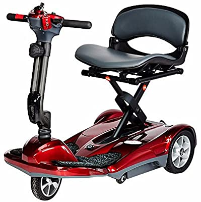 TranSport Plus Foldable Mobility Scooter, Powerful 270w motor, Two 12V12Ah SLA Batteries, (Red) Bundled with Outdoors Equipments 1-Year Extended Warranty
