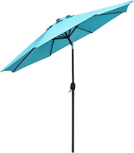 Snail 10 ft Outdoor Large Aluminum Outdoor Umbrella Garden Table Umbrellas Sunshade with Push Button Tilt Crank, 8 Steel Ribs, Blue