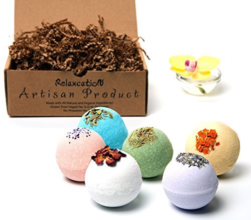 Organic Bath Bombs Gift Set For Women - All Natural with Bath...