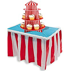 "Carnival Themed Party Decoration Red & White Striped Table Skirt 14 Feet x 29 Inches & Big Top Cupcake Holder Centerpiece, 16"" By 4E's Novelty"