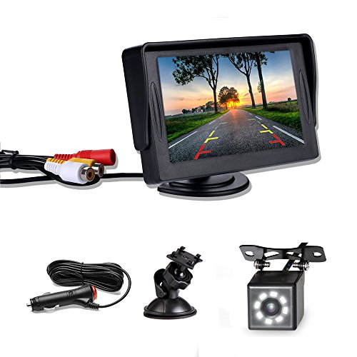 Camecho Backup Camera and Monitor Kit for Car/RV/Truck/Pickup/Van/Camper 4.3' Mini Monitor 8 LEDs Rear View Cam Night Vision IP67 Waterproof with 6.5M AV Cable, Cigarette Lighter 3.5M Extention Cable
