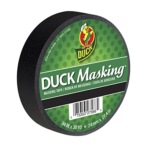 Duck 240877 Color Masking Tape, 0.94-Inch by 30-Yard (Single Roll), Black -