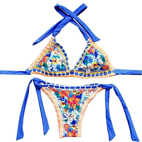 [Xiongda's shop Sexy Handmade Crochet Bikini Swimsuit Brazilian Swimwear Bathing Suit (Colorful)] (Price Is Right Costume)