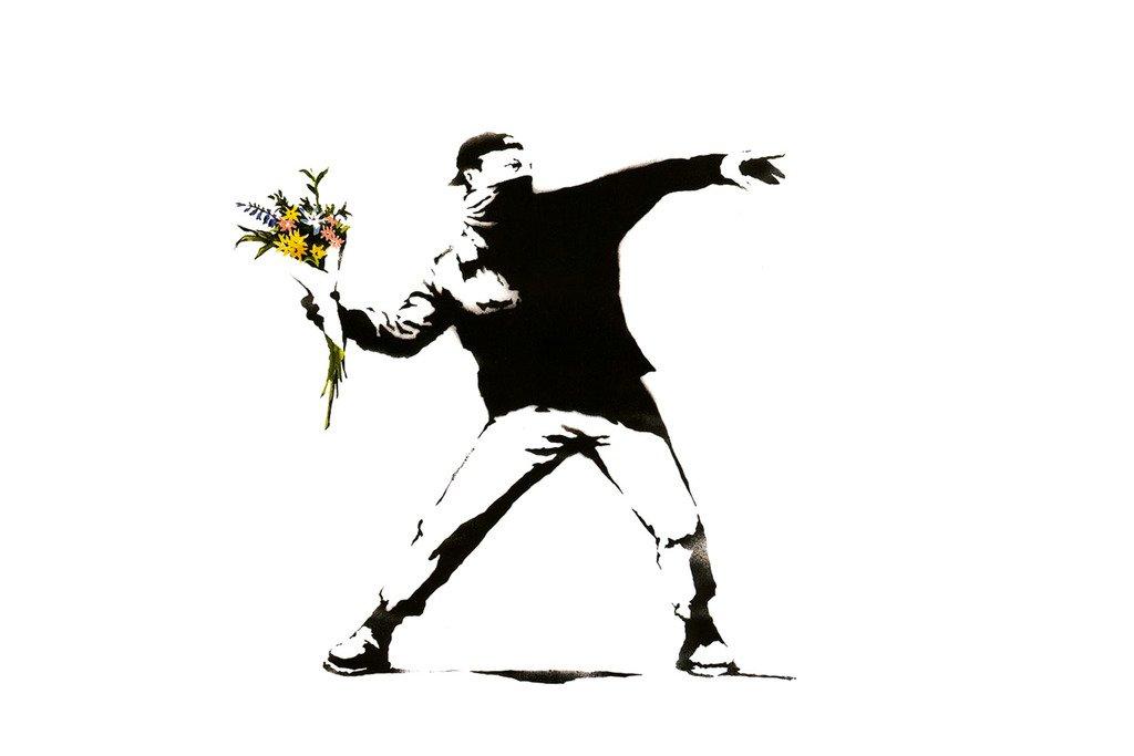 バンクシーRage The Flower Throwerポスター18 x 12 B011J4CH7Y
