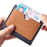 Borgasets Women's RFID Blocking Small Compact Bifold Leather Pocket Wallet Ladies Mini Purse with id Window Blue