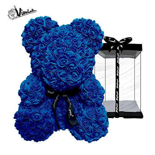 Rose Teddy Bear with Forever Artificial Rose Bouquet|Best Gift|Holiday, Valentine, Anniversaries, Birthdays, Wedding (Royal Blue, Small, 10'') Bear Blue Flower Shower