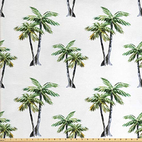 Ambesonne Palm Tree Fabric by The Yard, Botanical Watercolor Artwork of Hawaiian Aloha Forest Palm Trees in Pairs, Decorative Fabric for Upholstery and Home Accents, 2 Yards, Grey Green White