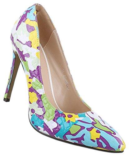 Damen-Schuhe Pumps   Frauen High Heels mit 11 cm Stiletto-Absatz in verschiedenen Farben und Größen   Schuhcity24   Buntes Muster Lila