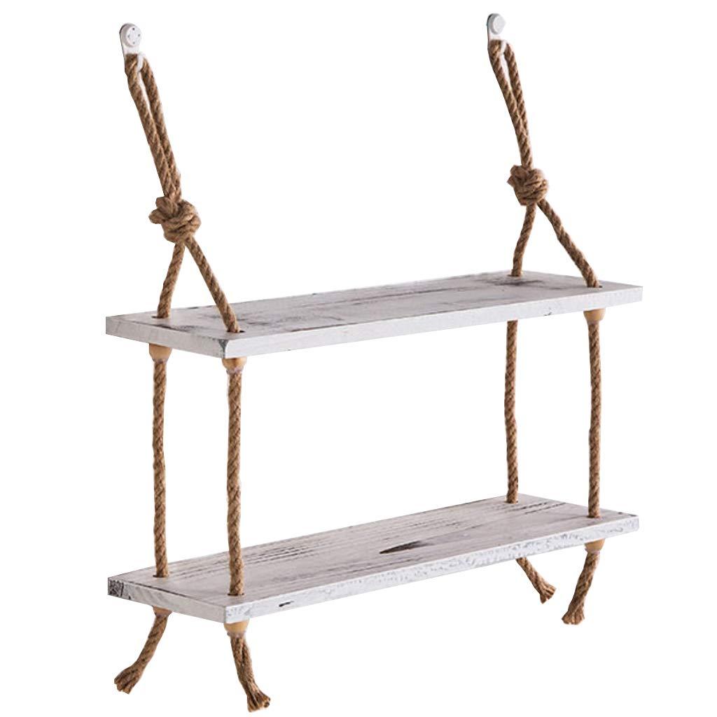 Beni familiari 2 tier di legno massello di marmo della mensola della canapa del canapa della mensola sospesa Creative Simple Wall Decorations Rack di immagazzinaggio -CRS-ZBBZ ( Colore : #1 )