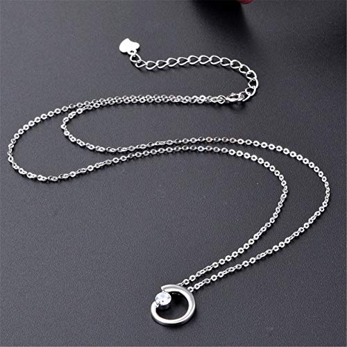 anyilon Simple Circular Crystal Necklace Classic Charm Jewelry for Women - Charm Circular Crystal