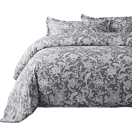 Bedsure Printed Floral Duvet Cover Set King Size Grey Duvet Cover Zipper Jacobean 3 PC Bedding Set ()