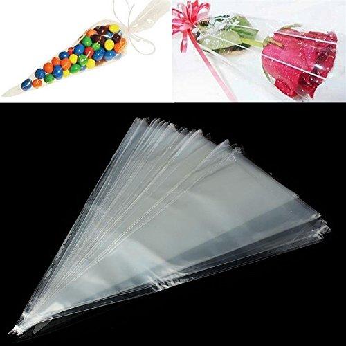 100Pcs Plastic Clear Cellophane Cone Shape Sweet Sugar