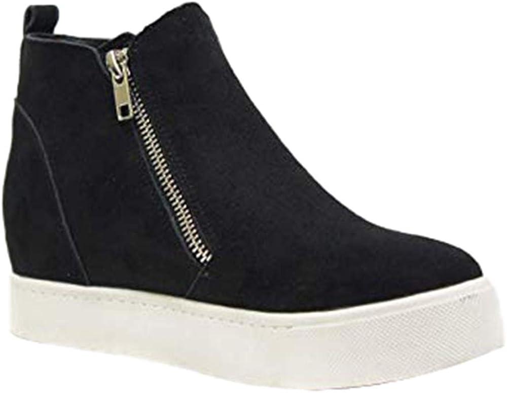 Nailyhome Womens Wedge Fashion Sneaker Platform High Top Bootie Slide Zipper Ankle Heels