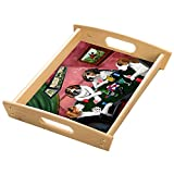 Home of Treeing Walker Coonhounds 4 Dogs Playing Poker Wood Serving Tray with Handles Natural