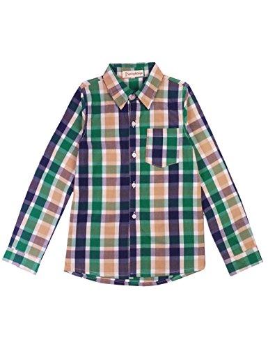Spring&Gege Boys' Casual Long Sleeve Soft Sport Check Plaid Shirts, Green Purple Khaki, 7-8 Years