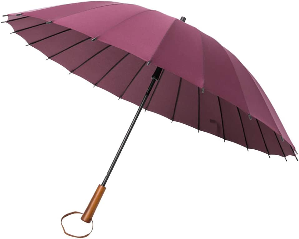 KIAYI Windproof Umbrella 45 Inch Manual Open Men Women Waterproof Sun Protection Classic Stick Umbrellas Wooden Handle,Purple
