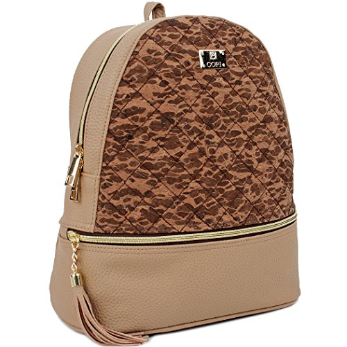 COPI Women's Simple Design Cork Leather Fashion Quilting Backpacks Beige Brown ()