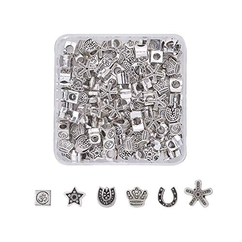 Pandahall 120pcs Tibetan Style Alloy Large Hole Beads 6 Style Antique Silver European Loose Beads for fit European Earring Bracelet Jewelry Making