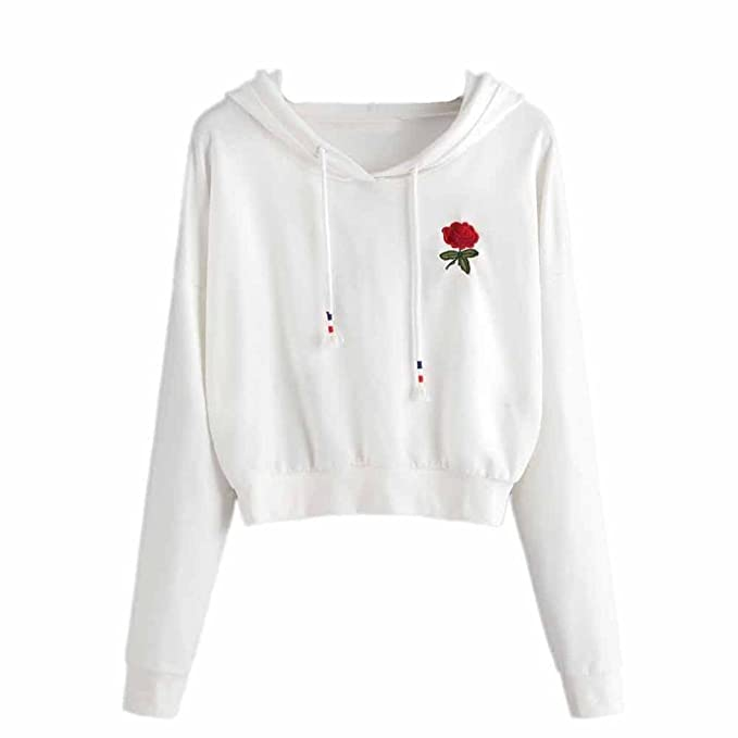 Hoodies Damen Weiß Mumuj Mädchen Rose Gestickter Kapuzenpullover Sport  Reise Warm Herbst Winter Sweatshirt Jumper Crop 808d60b1f6