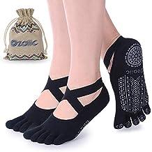 Yoga Socks for Women with Grips, Non-Slip Five Toe Socks for Pilates,