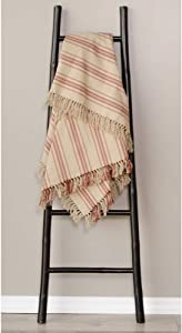 Home Collections by Raghu 50x60 Grain Sack Stripe Oat-Barn Red Afghan