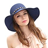 HOYAYO Womens Summer Sun Beach Straw Hat Wide Brim UPF50 Foldable Sun Protection Hat(Navy)